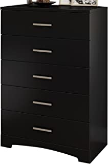 South Shore Gramercy 5-Drawer Dresser, Pure Black with Brushed Nickel Handles
