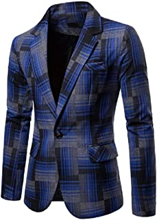 Blazer for Men Plaid One Button Suit Long Sleeve Turn Down Collar Casual Simple Sport Jacket Tops