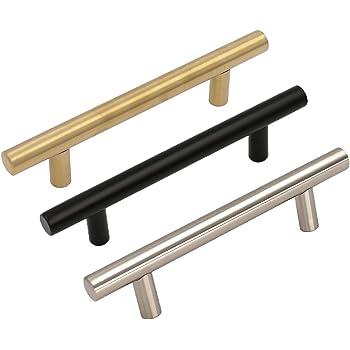 9x Edelstahl Griff Rund Rohr – Goldenwarm Küchenschrank Griffe Silber 9mm  Schrankgriff Möbelgriff