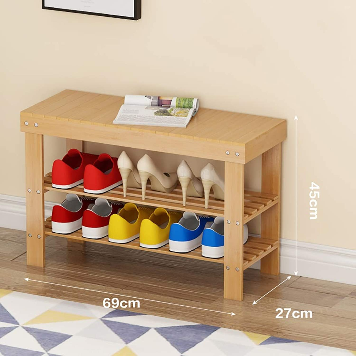 shoes Rack Change shoes Bench Small shoes Cabinet at The Door Can sit on a shoes Bench Storage Stool Bamboo Household Space Saving Multifunction 2 Layer (Size   69  27  45cm)
