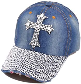 8c9a7b612 Song Qing Jean Snapback Hat Women Men Bling Cross Rhinestones Denim  Baseball Cap