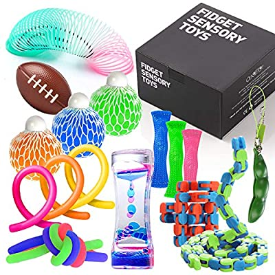 Fidget Toys Set with Stress Balls for Kids, Teens and Adults, 18 Pack Stretchy Sensory Tool with Liquid Motion Timer for ADHD, Autism and Anxiety, Fun Fidgeting Game for Classroom and Office by American Outdoor Brands Sales Compa