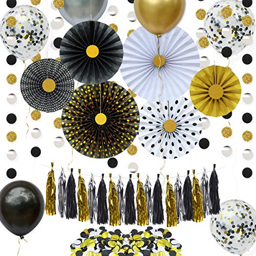 Gold Black Party Decorations Kit Hanging Paper Fans Circle Dot Bunting Banner Tassel Garland Streamer Table Scatter Confetti Balloons for Wedding Brida Shower Graduation Birthday Anniversary Party