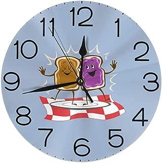 Hi Joker Peanut Butter and Jelly Logo Wall Clocks Desk Shelf Clocks Stylish Oil Painting Clock Quiet Digital Clock Indoor Decorations