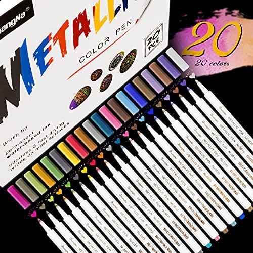Rotuladores Metálicos, Rotuladores Emooqi, 20 colores surtidos para Dibujo de Album de Fotos/Regalo de Cumpleaños por Bricolaje Tarjeta para Hacer Bricolaje Pintura de Roca Vidrio (40)