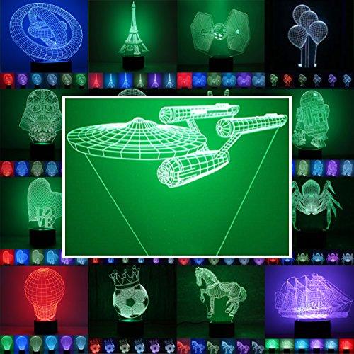 3D Lampe 3D Leuchte 3D LED Stimmungslicht. 7 Farben - Auswahl aus 81 verschiedenen Motiven,hier Raumschiff Enterprise inkl.Sockel - 3D Illusion Dekolicht mit USB Anschluß und 220V USB Netzteil