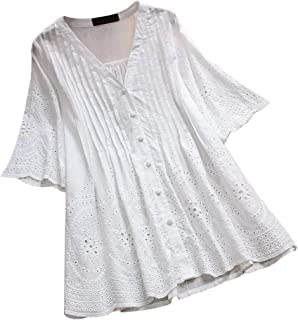 ec5c262933a Lazzboy Women Tops Blouse 3/4 Long Sleeve Ladies Floral Print Loose Casual  Slouch Shirt