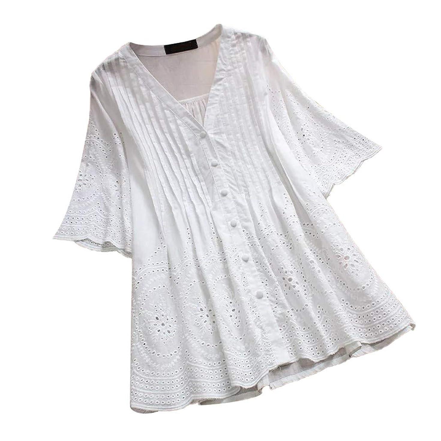 Cewtolkar Women Shirt Button Blouse Hollow Tops Ruffle Tees Half Sleeve Tunic V Neck T Shirt Summer Top Plus Size