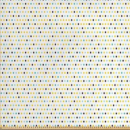 ABAKUHAUS Retro Tela por Metro, Lunares Rondas Retro, Decorativa para Tapicería y Textiles del Hogar, 1M (148x100cm), Brown Verde Menta De Aqua Marigold