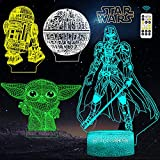 FEOAMO 3D Illusion Star Wars Night Light 4-Pattern & 16-Color with Remote, Yoda, Darth Vader, Death Star and R2-D2, Toy Gift for Star Wars Fans Boys Girls Men, 3D LED Lamp Nightlight for Room Décor