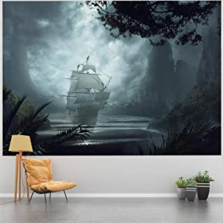 Tapestry Wall Hanging, Psychedelic White Ship and Dark Clouds Seawater Mountain Land Nature Tapestry Hanging for Bedroom Living Room Window Art Decor(78.7X59 Inch)