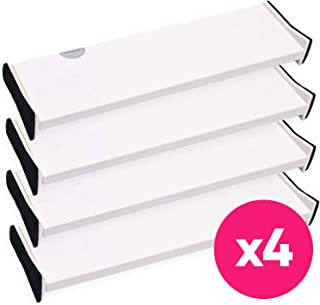 4 Drawer Organizer and Dividers, Organize Silverware and Utensils in Home Kitchen, Divider for Clothes in Bedroom Dresser, Designed to Not Snag Underwear and Bra Fabrics, Bathroom Storage Organizers
