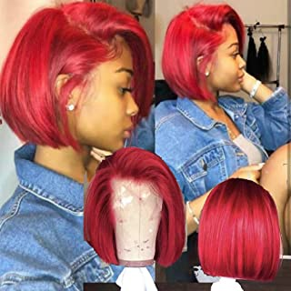 Red blunt cut bob Human Hair Lace Front Wig Pre Plucked 150% density Side Part Full Lace Wigs by Wigleader (10 inch 150% density, Lace Front wig)