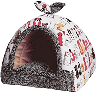 ZRL77y Pet Cat Puppy Warm Cute Cave Nest Pet Tent House Cozy Sleeping Bed for Kitten Rabbit Small Animals with Removable C...