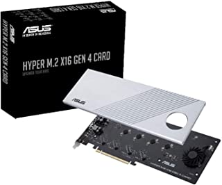 ASUS Hyper M.2 X16 PCIe 4.0 X4 Expansion Card Supports 4 NVMe M.2 (2242/2260/2280/22110) up to 256Gbps for AMD 3rd Ryzen s...