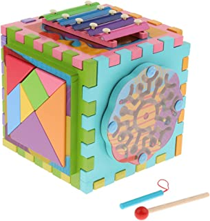 Baosity 6 in 1 Kids Puzzle Toys Colorful Wooden Activity Cube Gear Blocks Toy Gift