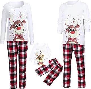 Conjuntos de Pijamas Familiares a Juego de Navidad, Pijamas para Familia Mujer Hombre Niños Bebé Loungewear de Navidad,Camiseta de Manga Larga de Reno + Conjuntos de Pantalones a Cuadros Rojos