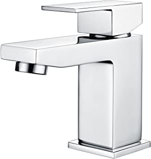 Funime Basin Taps Square Cloakroom Bathroom Sink Taps Mixers Chrome Brass with UK Standard Hoses