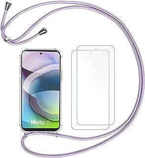 Hoesje Koord Compatibel met Motorola Moto G 5G Ketting Telefoonhoesje, Crystal Clear Transparant Zacht TPU Draagkoord Hoe...