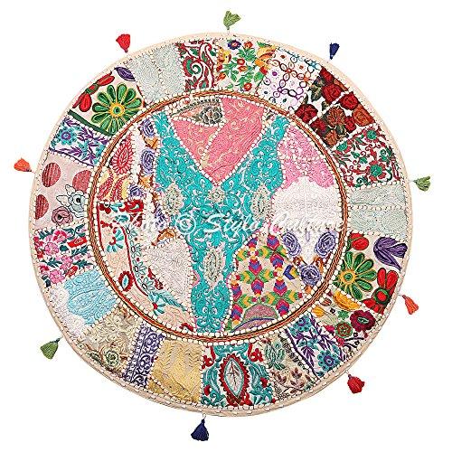 Stylo Culture Ethnisch Dekorativ Rund Bodensitzkissen 80x80 cm Groß Bodenkissen Vintage Weiß Boho Patchwork Seat Lounge Baumwolle Bestickt Rundkissen Orientalisch
