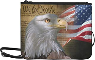 Patriotic Bald Eagle American Usa Flag Brown Pattern Custom High-grade Nylon Slim Clutch Bag Cross-body Bag Shoulder Bag