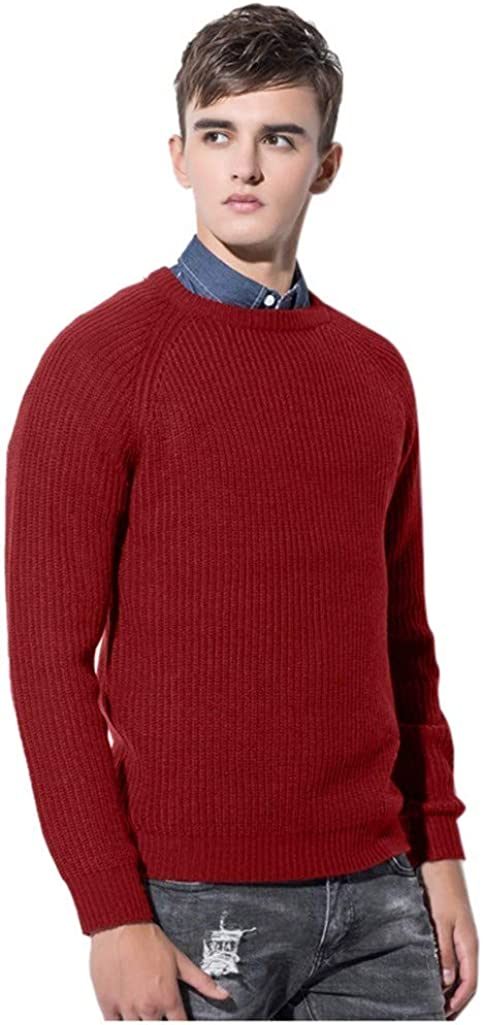 MODOQO Men's Pullover O-Neck Sweater Long Sleeve Solid Winter Warm Soft Knitted