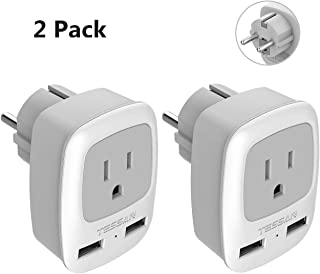 Type E/F Germany European Adapter 2 Pack, TESSAN Schuko France Travel Power Plug 2 USB, Outlet Adaptor for USA to Most of Europe EU Spain Iceland Russia Korea Greece Norway
