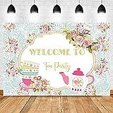 Bienvenido al Fondo de la Fiesta del té Rosas Rosadas decoración de la Mesa de Postre Accesorios de fotografía Fondo A31 5x3ft / 1.5x1m