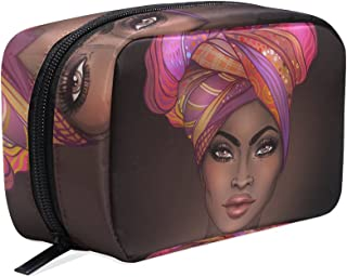 Makeup Bag Portable Travel Cosmetic Train Case African American Woman Toiletry Bag Organizer Accessories Case Tools Case f...