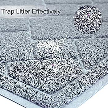 VIVAGLORY Tapis litiere Chat, Tapis bac a litiere sans BPA, imperméable et antidérapant, Taille XL 90x60cm, Gris