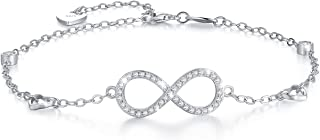 WM'SPARKLE Anklets for Women 925 Sterling Silver Infinity Love Bracelet Anklet Endless Symbol Studded with 3A Cubic Zirconia Charm Adjustable Large Bracelet Women's Fashion Jewelry
