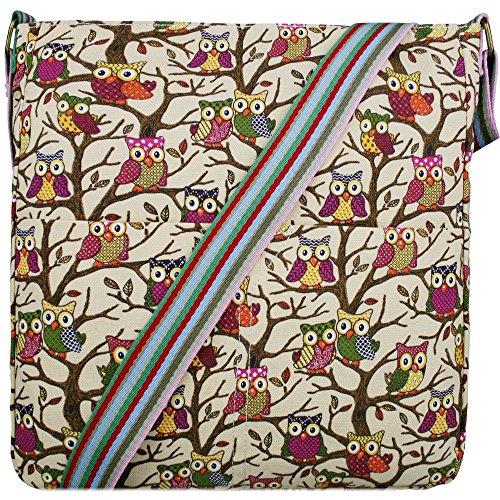 Miss Lulu Canvas Messenger Bag Owl Beige L1104W BG