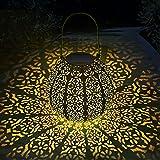 Solarlampen für Außen - MUSUNIA LED Metall Solarlaterne für Außen Hängend, Gartendeko Solar Gartenlaterne,   22 x 22 cm  - Hellblau
