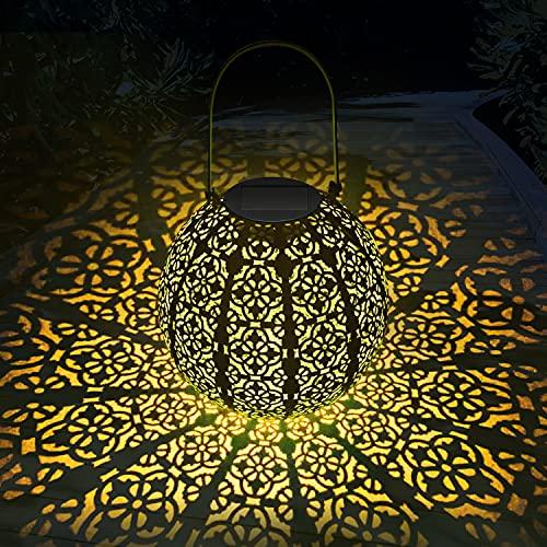 Linterna solar para exterior, MUSUNIA Lámparas solares de metal LED para colgar en el exterior, Linterna solar para decoración de jardines, | 22 x 22 cm | - azul claro