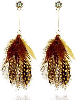 Orecchini di piume esagerate europei e americani orecchini lunghi di moda orecchini da donna