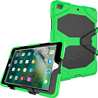 """TECHGEAR G-SHOCK Case for iPad 9.7"""" 2018/2017 Tough Rugged Heavy Duty Armour Shock Survival Protective Case - Kids Work School Builders Case Compatible with Apple iPad 9.7"""" 6th & 5th Gen [Green]"""