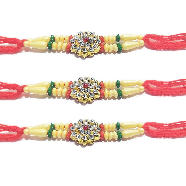 IndiaBigShop Set of 3 Rakhi for Brothers, 3 Rudraksha & Color Beads Rakhi, Rakhi Bracelet, Multi Design and Assorted Color