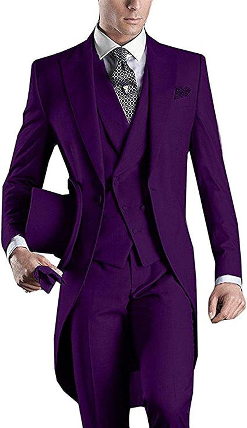 High-End Suits Men's Tailcoat Formal Slim Fit 3-Piece Suit Long Jacket Dinner Tuxedo Wedding Tux & Vest & Trousers
