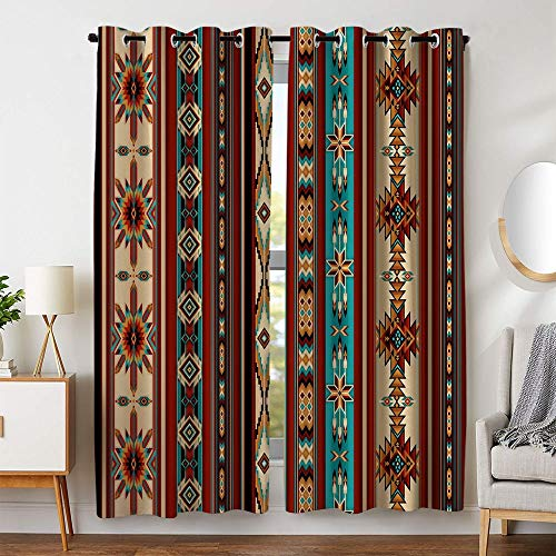 KLRI Curtains Blackout (2 Panel) Top Grommet Window Coverings Darkening 54 x 84 Inch Southwestern Stripes