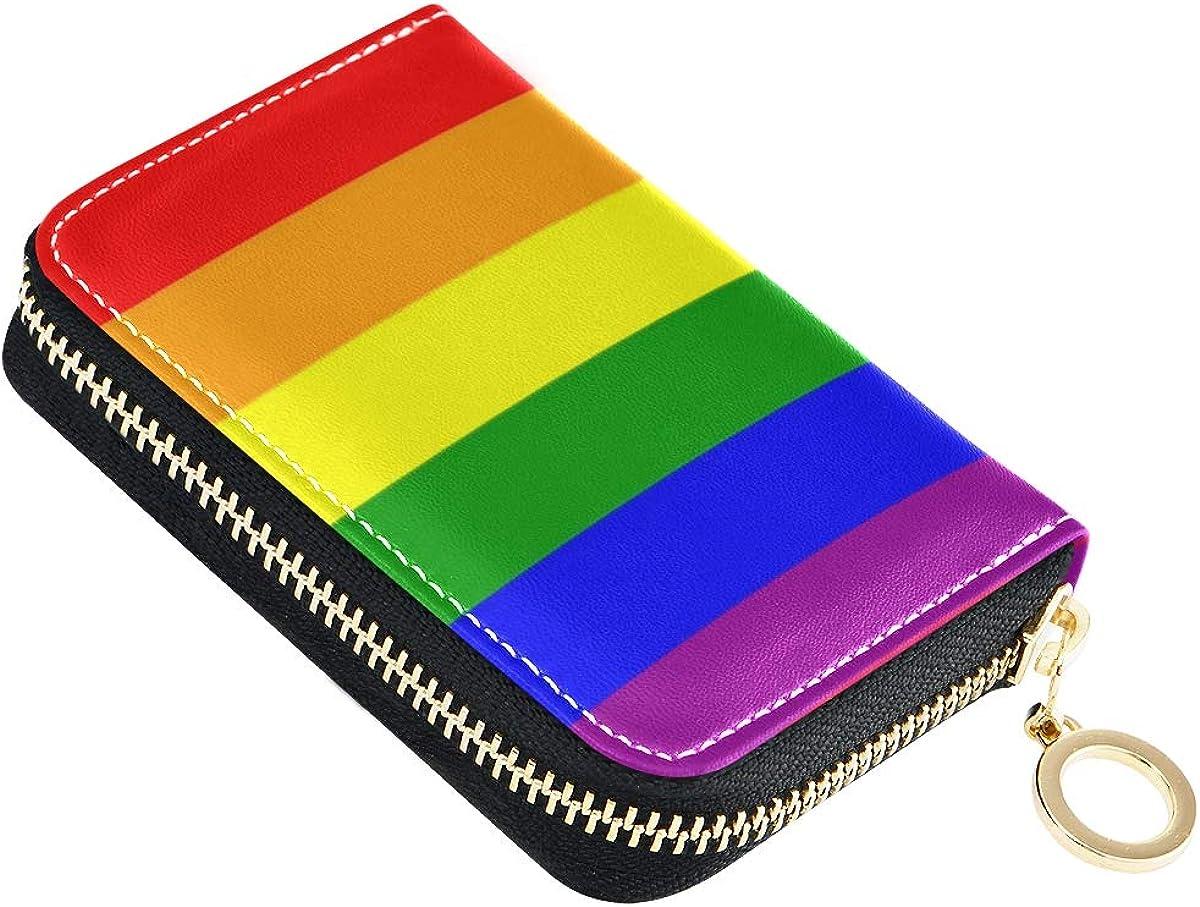 Slim Minimalist Soft Leather Mini Case Holder Organizer Wallet for Women Men Transgender Pride Flag
