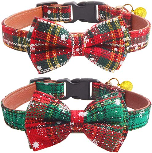 KUDES 2 Pack/Set Christmas Snowflake Dog Collars Breakaway with Bow Tie and Bells for Cat and Small/Medium/Large Pets, Red & Green (M(11.8''-17.8''), Red+Green)