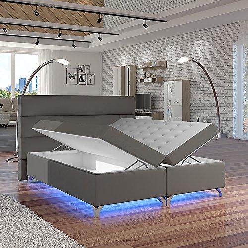 Selsey Torlee – Doppelbett/Boxspringbett in Grau mit Bettkasten Bonellfederkernmatratze und Topper (160x200 cm)