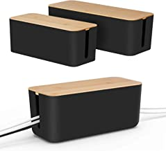 Set of Two Cable Management Box by Baskiss, Bamboo Lid, Cord Organizer for Desk TV Computer USB Hub System to Cover and Hi...