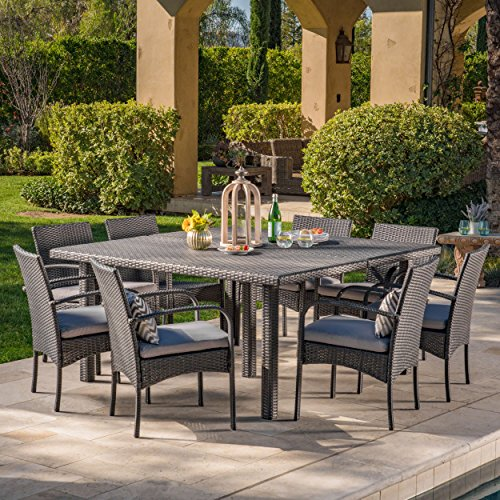 Christopher Knight Home Coral Outdoor 9 Piece Wicker Square Dining Set Water Resistant, Grey/Grey Cushions