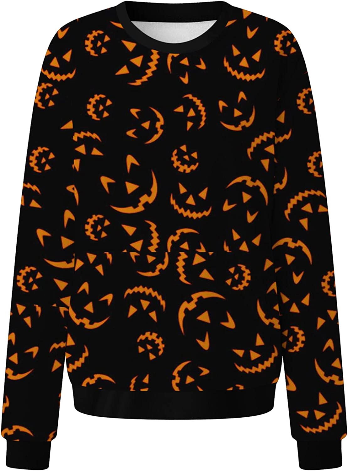 Halloween Sweatshirts for Womens,Women Winter Long Sleeve Casual Tree Printed Thermal Round Neck Pullover Tops Shirt