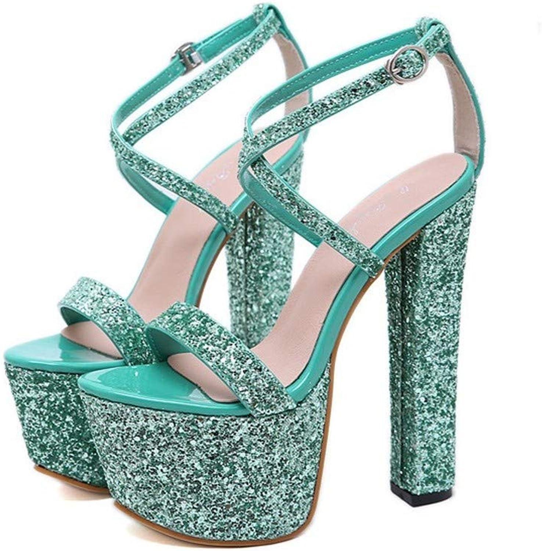 Top Shishang Sexy Sequins Green high Heel Platform Sandals Open Toe Hollow Women's shoes