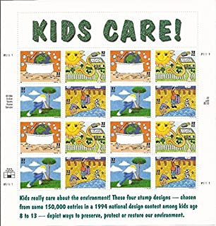 Kids Care - Earth Day Full Sheet of Sixteen 32 Cent Stamps Scott 2951-54 by USPS