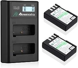 Powerextra 2 X Baterías Reemplazo para Nikon EN-EL9 EN-EL9A y Doble Cargador LCD Compatible con Las Cámaras Nikon D40 D40x D60 D3000 D5000