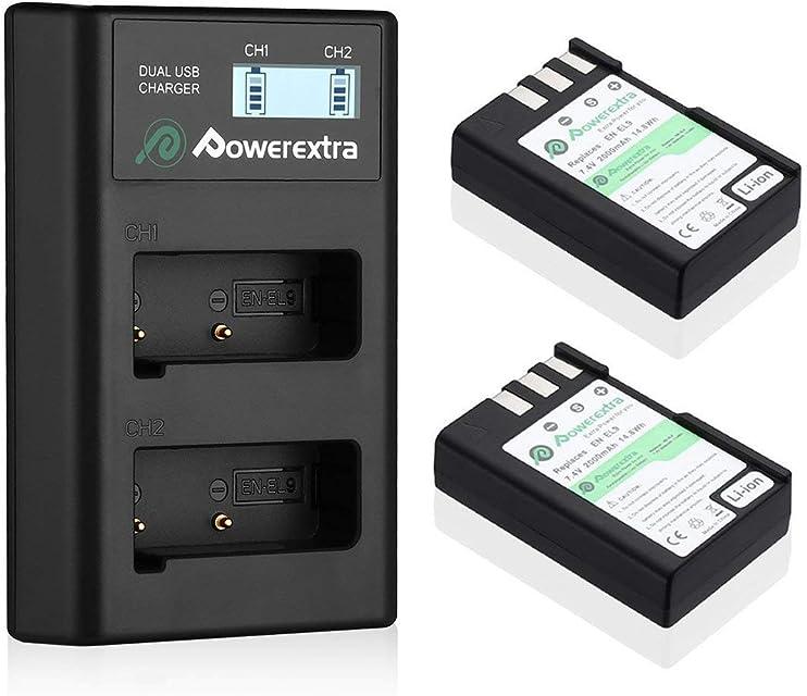 Powerextra Nikon EN-EL9 EN-EL9A 2 X Baterías de Repuesto y Doble Cargador LCD Compatible con Las Cámaras Nikon D40 D40x D60 D3000 D5000