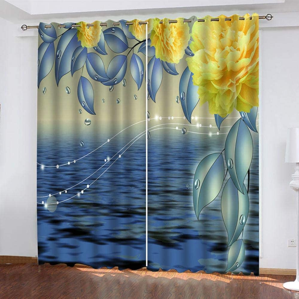 ZJZWLW Blackout Curtains 79X84 2021 spring and summer new Inch Flower Yellow Home Now on sale Flowers